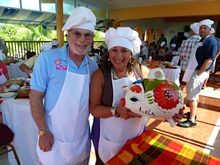 Having fun cooking with friends Barry and Lana on the Salsa and Salsa tour