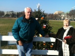 Standing in front of the Florida tree.