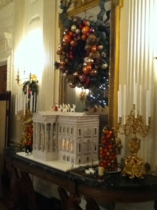Beautiful, gingerbread White House in State dining room