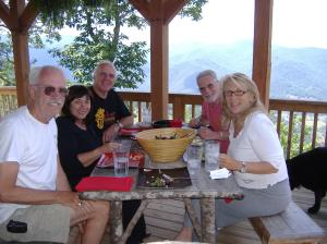 Visiting Bob and Char at their beautiful mountain home. (Randy, Lana, Bob, Barry and Char)