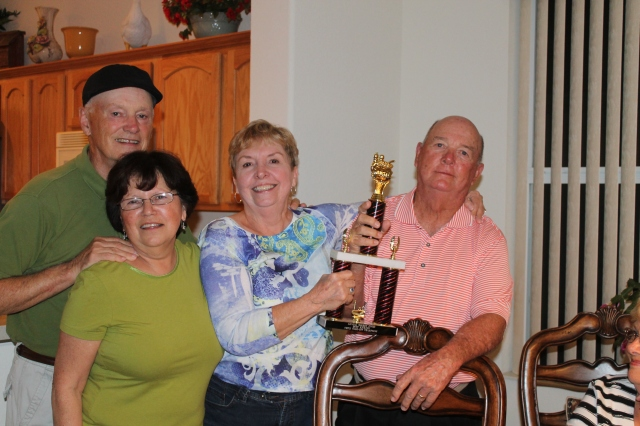 Hosts Jack and Diana Partin (left) Winners Jeannette and Virgil Green