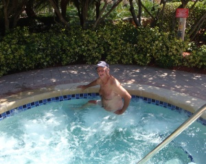 Bob enjoying the hot tub