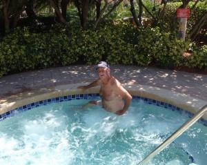 Bob enjoying the hot tub