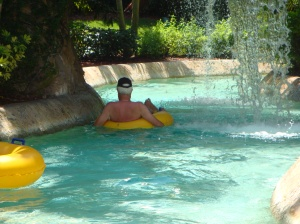 Randy taking one last trip around the lazy river.