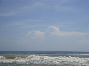 Every so often I would put down the book I was reading and enjoy the waves and beautiful cloud formations.