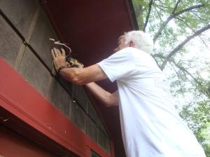 Installing the outside spotlight
