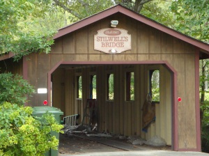 Covered bridge entrance to Kara's property