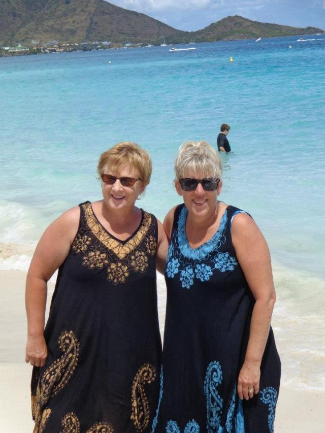 Sheri and Cindy wearing their new beach cover-ups.  Beautiful ladies.