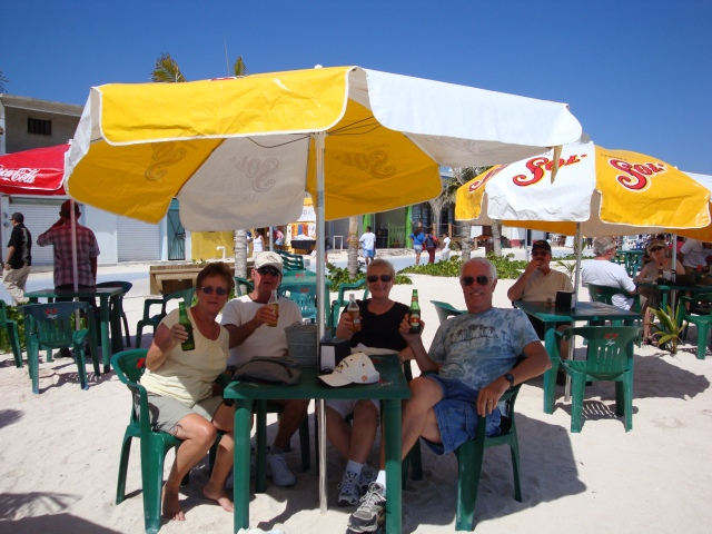 Enjoy a cold one on the Costa Mayan beach