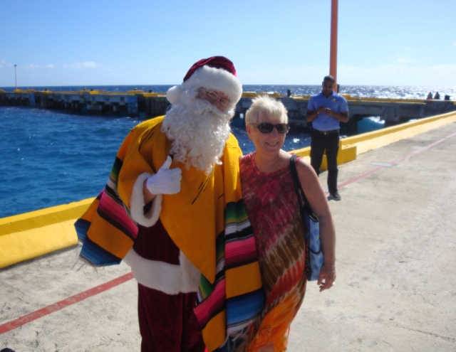 Stopped on the pier for a photo with Santa.