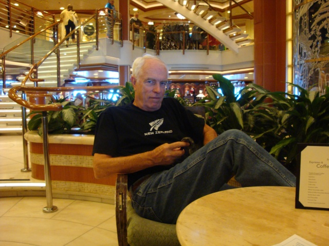 Randy enjoying waiting for me to get my daily coffee at the International Café.