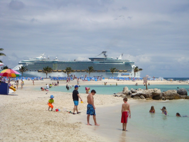 View of the ship from the beach