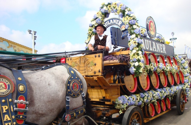One of many beautiful horse drawn beer wagons at Oktoberfest!