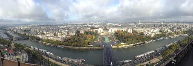 View of the Palais de Chaillot from deck 2 of Eiffel Tower