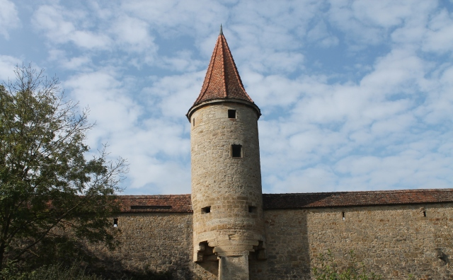 One of the towers on wall that surrounds medieval town of Rothenburg, Germany