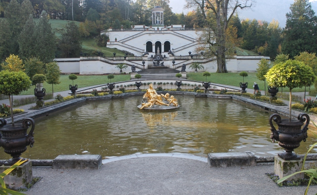Cascade with Neptune Fountain as seen from castle