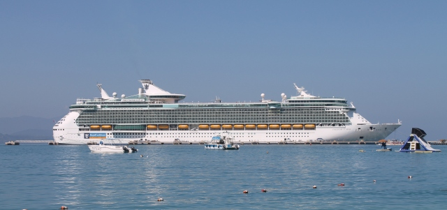 View of Freedom of the Seas from the beach