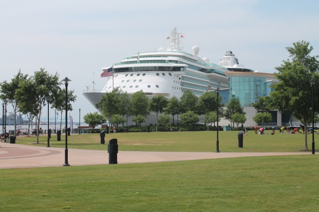 Great view of the ship at the west end of the waterfront.