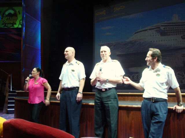 (from left) cruise director Clo, chief engineer, Ivo, Captain Stig and hotel director Joni.