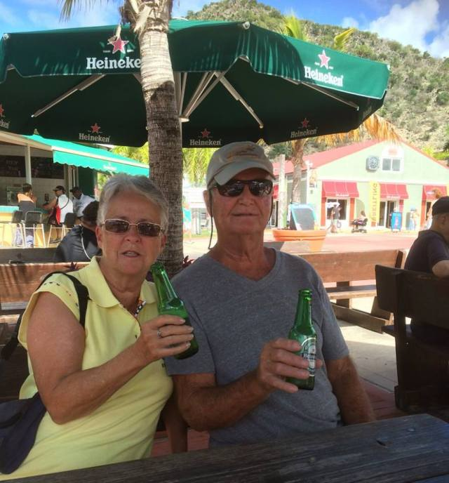 Sandy and Bob in St. Maarten enjoying a cold one (picture by Connie)