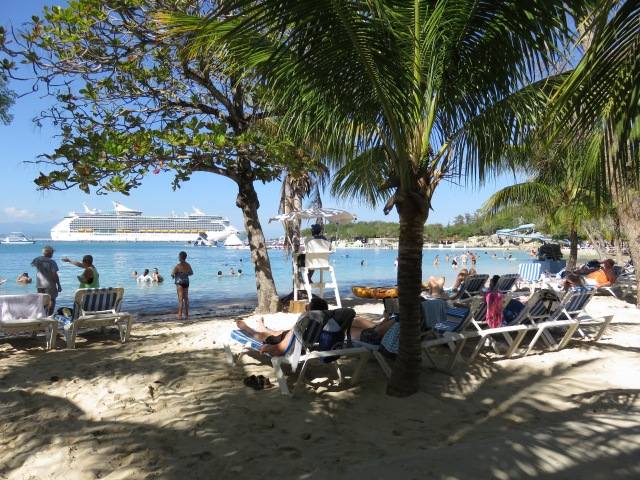 View of the beach from our lounge chairs.