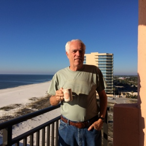 Randy enjoying his morning coffee on the balcony before church