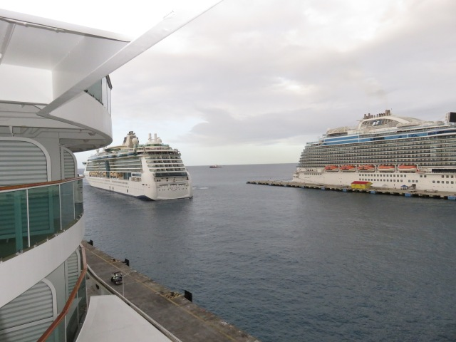 Far right is the Royal Princess. Pull in is the Jewel of the Seas.
