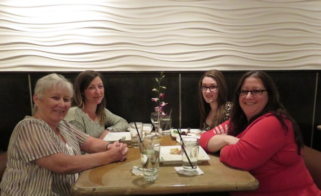Me, Kristine, Madalyn and Jennifer enjoying a birthday dinner at THAI Shirling