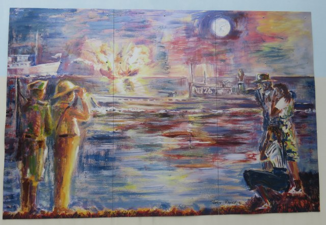 """World War II"" mural by Caymanian artist John Broad"