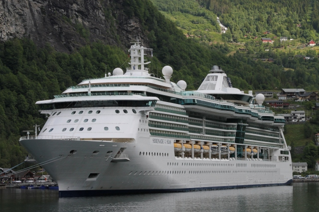 Beautiful Serenade of the Seas docked at Geiranger, Norway