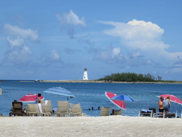 View of the harbor lighthouse from Junkanoo Beach