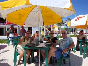 Bob, Sandy, Mary and Randy enjoying a day at the beach in Costa Maya