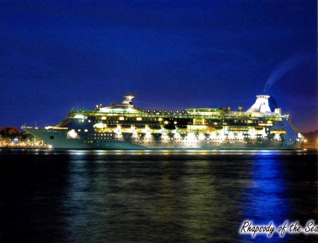 I loved this photo of the ship at night all lit up looking like a jewel floating on the sea.