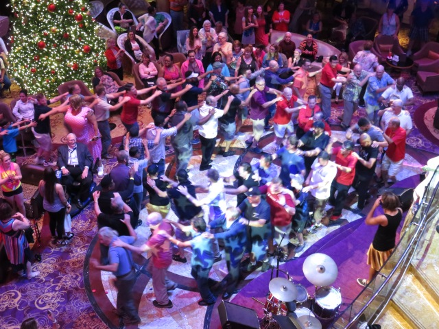 After the conga line wound its way around the Centrum they came together in a very tight circle. Funny!
