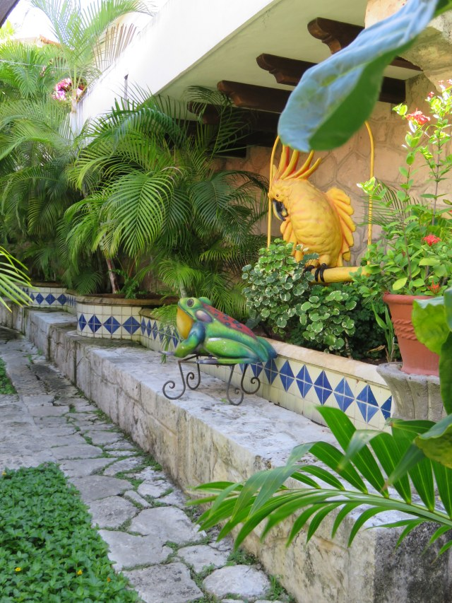 Lovely tiled wall on the outside patio